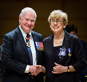 Lembi Buchanan and the Governor-General of Canada - Photo by official photographer as Sgt. Ronald Duchesne, Rideau Hall